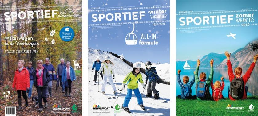 V.l.n.r.: Sportief met de Wandelvogel, Sportief Wintervakanties en Sportief Zomervakanties